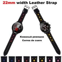 Купить с кэшбэком Leather Bracelet Watchband Men Women 22mm Smart Watch Pulsera Correa Band Wrist Watch Strap Watchstrap Metal Buckle WristStrap