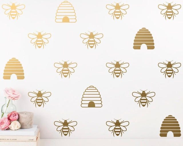 Honey Bee Wall Decals Gold And Beehive Stickers For Kids Room Baby Nursery Home Decor Vinyl Tattoo A828