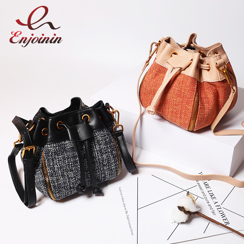Fashion Bucket Design Genuine Leather Stitching Canvas Female Crossbody Mini Messenger Bag Women Shoulder Bag Handbag Purse luxury flower fashion design pu leather women s chain purse shoulder bag handbag female crossbody mini messenger bag 3 colors