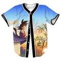 Смешно топы Гоку Закат Джерси overshirt 3d мультфильм печати футболки Уличной с Однобортный бейсбол рубашки МУЖСКИЕ рубашки