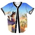 funny tops Goku Sunset Jersey overshirt 3d cartoon print shirts Streetwear with Single Breasted baseball shirt MEN'S shirts