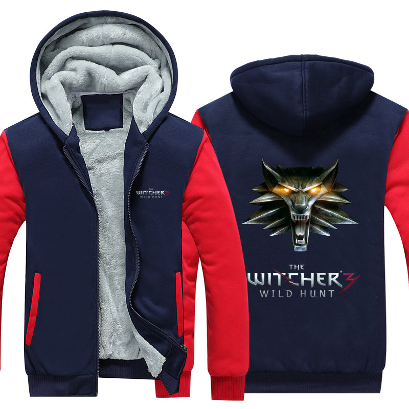 USA Size Mens Hoodie winter The Witcher 3 Thicken Fleece Iron Wolf clothes With velvet US EU Plus Size clothing cashmere Movie
