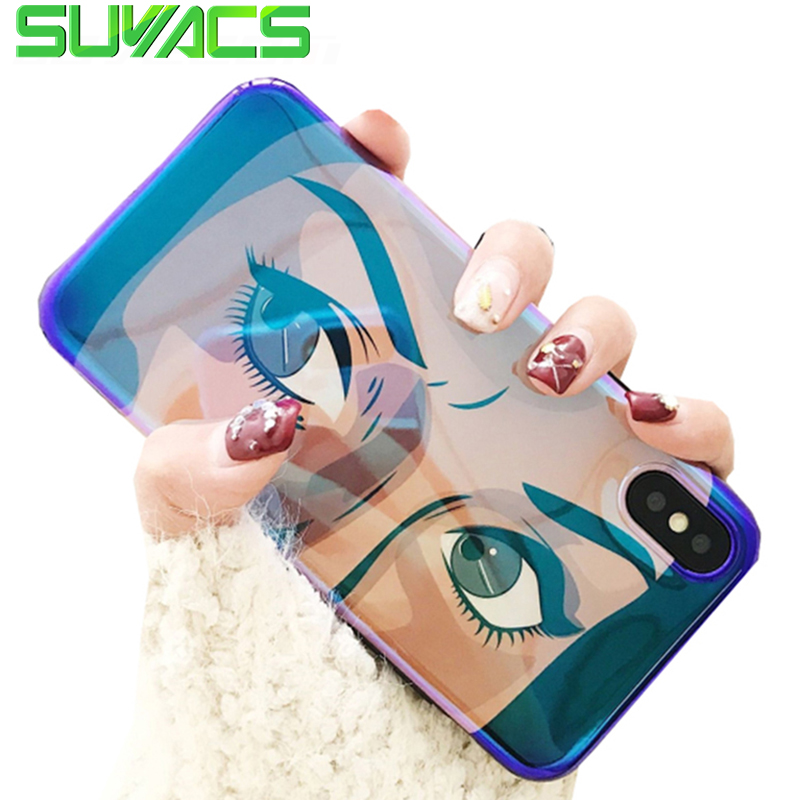 SUYACS Glossy Blu-ray Phone Case For iPhone 6 6S 7 8 Plus X Cartoon Big Eyes Soft Silicon IMD Cases Phone Cover Shells Fundas