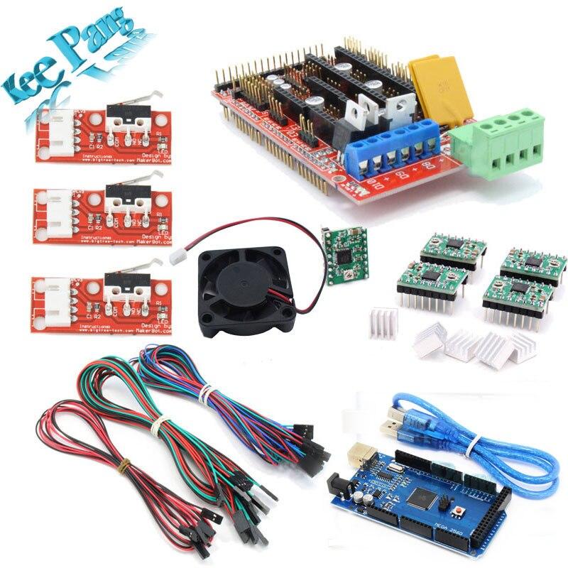 ФОТО Free shipping !! Ramps 1.4 + Mega2560 R3 +5pcs A4988 ,3pcs Endstop + 5pcs 4pin dupont heatsink&...Reaprap For RepRap 3D Printer