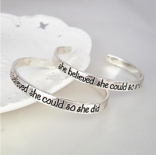 Hot sale wholesale 12pcs/lot  New Silver gold 6mm Engrave She Believed She Could so She Did Cuff Friendship Bangle Bracelet