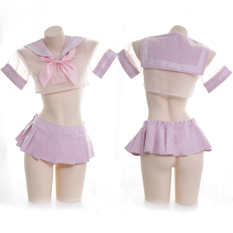 Sexy Anime Girl Pink Chiffon JK Uniform Set Japanese Women's Transparent Sailor Suit Cosplay Tops + Miniskirt Set Nightdress