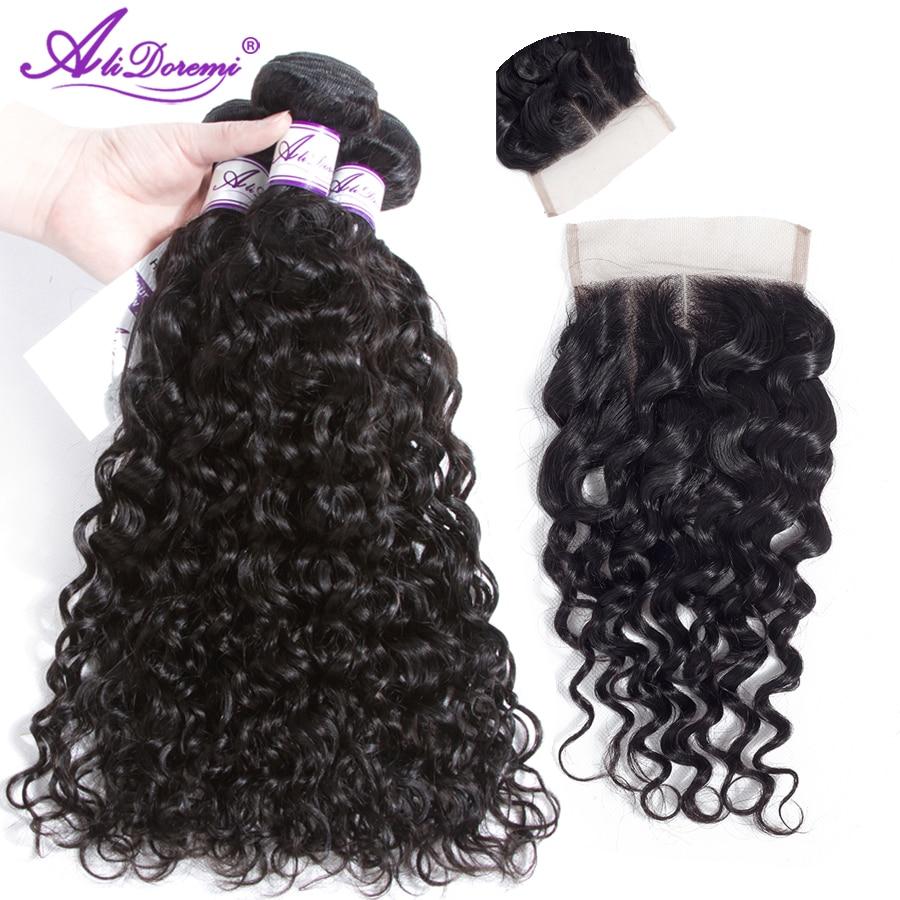 Alidoremi Hair Peruvian Water Wave 3 Bundles with Closure Human Hair Bundles with Closure Human Hair Weave 4 Pcs /lot