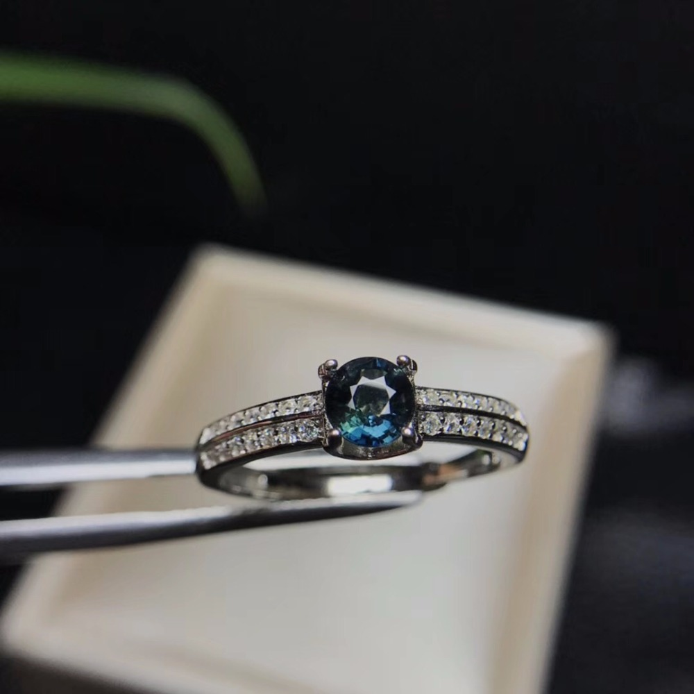 Natural sapphire ring come in China mining area unique color 925 silver new style