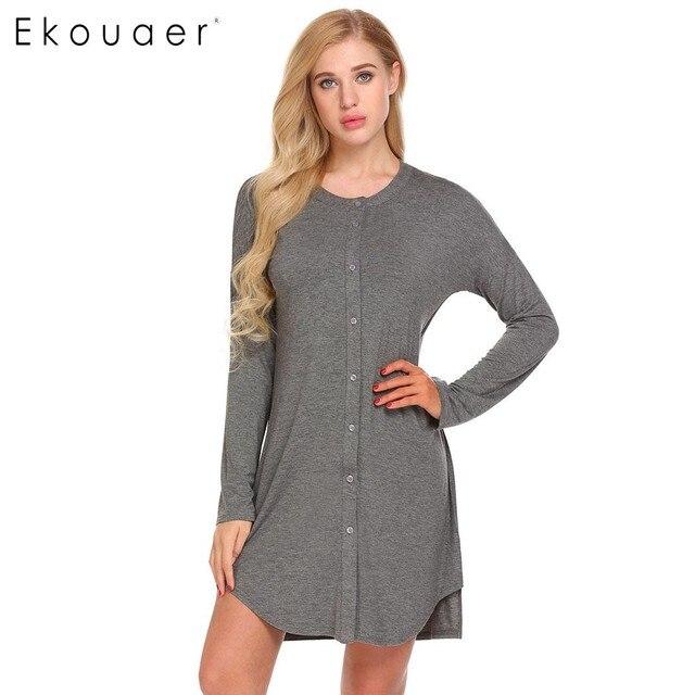 Ekouaer Women Lounge Casual Sleepwear Long Sleeve Button Front Sleep Shirt  O Neck Nightgown Female Nightwear Grey Black 5bb4e8d03
