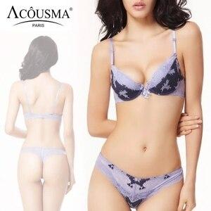 Image 1 - ACOUSMA ผู้หญิงเซ็กซี่ Bra และชุดกางเกงดอกไม้ Lace Bowknot 3/4 ถ้วย Push Up หญิงชุดชั้นในไม่มีรอยต่อ T กลับ thongs 8 สี