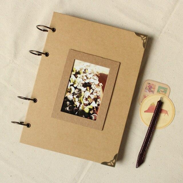 retro kraft paper album travel manual diy paste baby photos blank