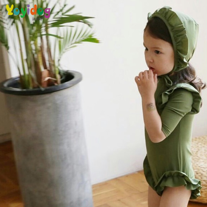 Child Swimwear Girl Swimsuit For Children Bathing Suit Girls Junior 2018 Continuous Swimming Pure Color Baby Princess Cute Cap