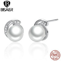 VOROCO Pearl Earrings Jewelry 925 Sterling Silver White Pearl Push Back Stud Earrings For Women Fashion