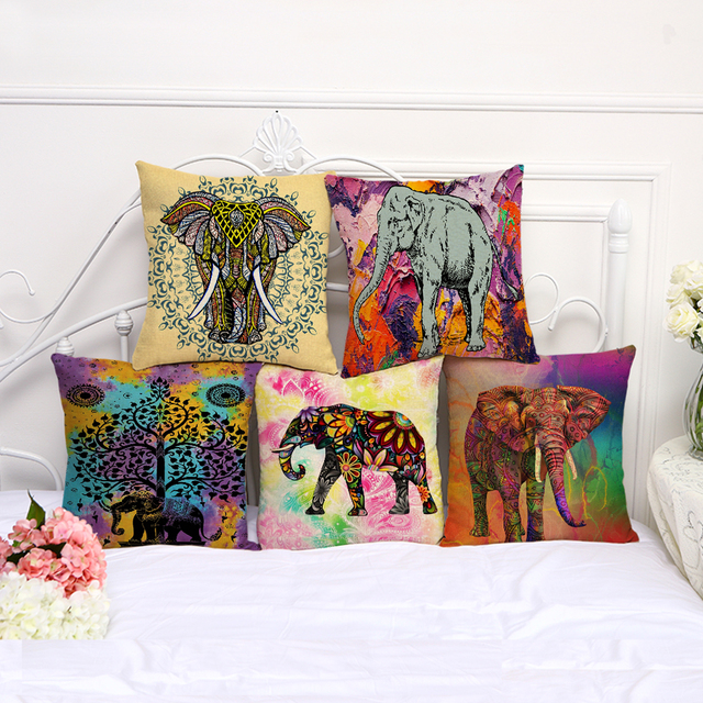 Square 18 Throw Pillows Cover India Animals Colorful Elephant