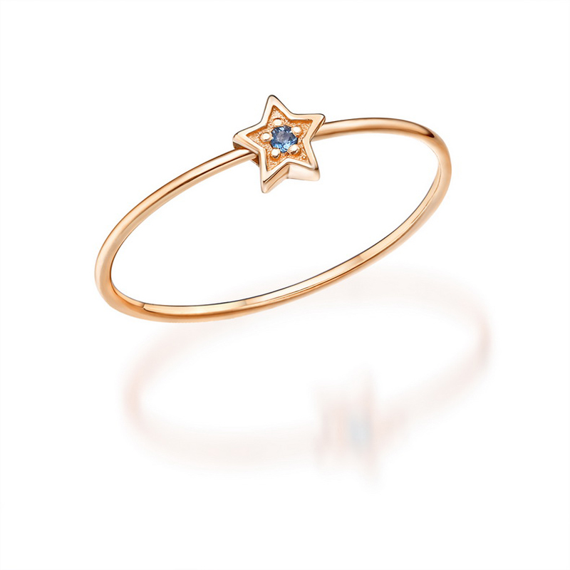 JXXGS Hot Sale White Zircon Fashion Simple Ring 14K Gold Ring Star Ring For Women