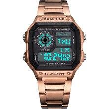 лучшая цена Golden Relogio Feminino Digital Watches Women Men Stainless Steel Sports Wrist Watch For Ladies Electronic LED Waterproof Watch