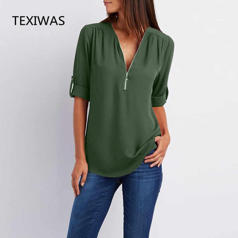 Texiwasストリートセクシーな春ファッション女性ブラウストップスプルオーバールーズカジュアルシフォンブラウスジップ夏シャツレディプラスサイズ5xl