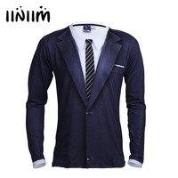 Iiniim Brand New Mens Long Sleeve Crew Neck 3D Printed Tie Tuxedo Stretchy Shirt Tops Casual