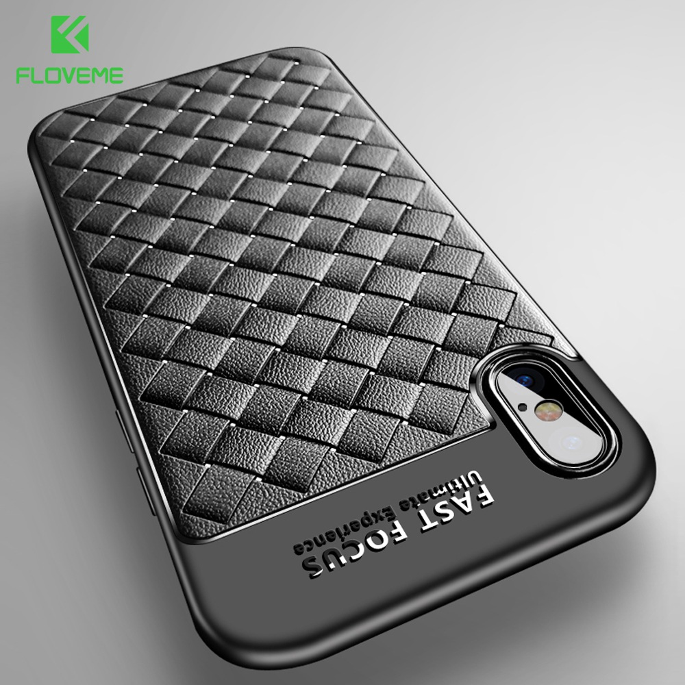 FLOVEME Luxury Grid Case For iPhone 6 6S iPhone 7 8 Plus Ultra Thin Silicon Capinhas For iPhone X 6 6s Phone Cases Accessories