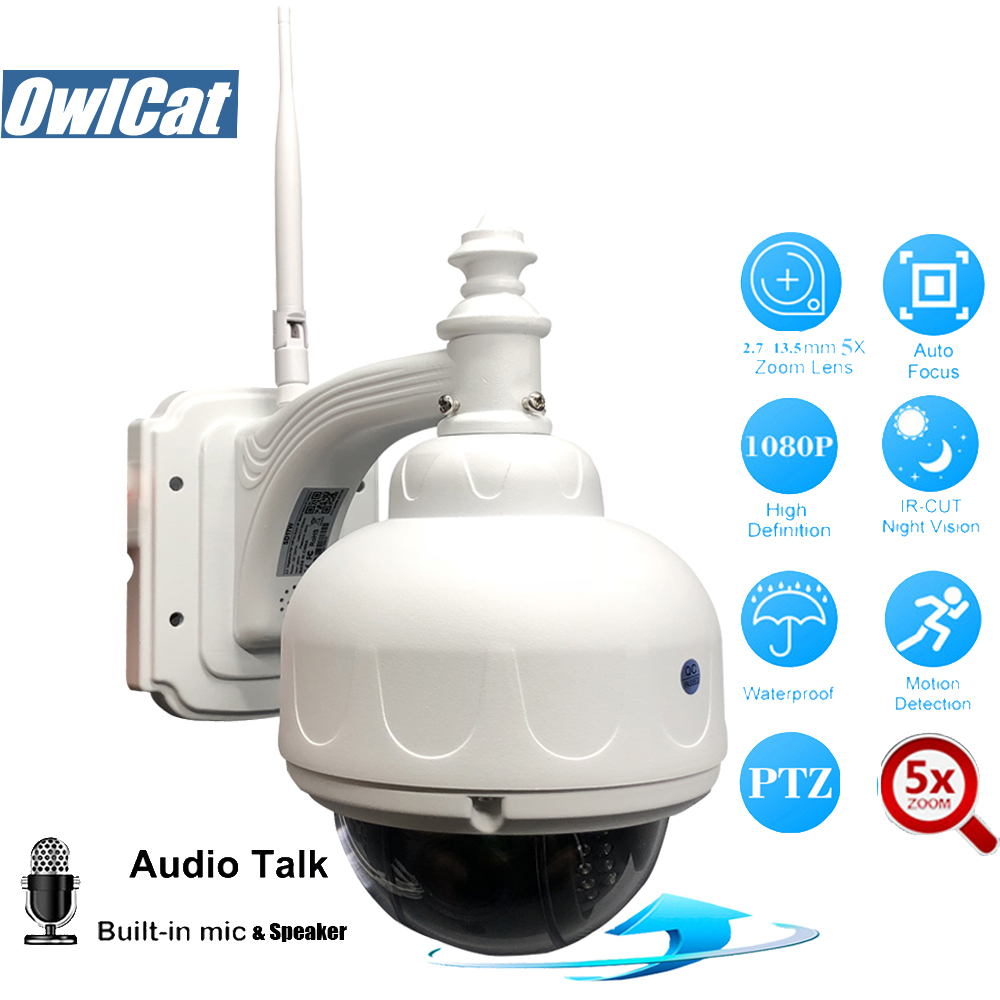 OwlCat HD 1080P Outdoor Speed Wireless PTZ IP Camera Wifi 2.0MP 5X Auto Focus Zoom 2.7-13.5mm Audio Security CCTV Camera SD Slot owlcat hd 1080p indoor dome ptz ip camera wifi 5x auto focus zoom 2 7 13 5m lens audio microphone 2 0mp sd slot wifi cctv camera