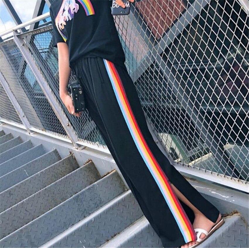 MLCRIYG 2018 summer's new wide leg female split rainbow bar leisure loose pants