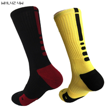 USA brand solid Elastic mens compression Socks terry crew sock cotton big size sox Professional towel bottom knee long socks men