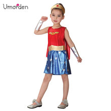 Umorden Kids Child Wonder Woman Costume for Girls Girl Cosplay Fancy Party Dress Halloween Carnival Costumes