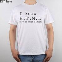 St Ben Html Biliyorum Nasıl Karşılamak Bayanlar t-shirt Üst Saf Pamuk Erkekler T Gömlek