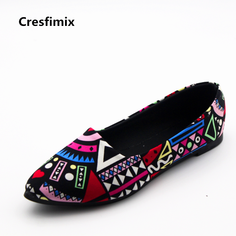Cresfimix women cute spring & summer slip on flat shoes lady pattern floral flats female casual summer casual flat shoes zapatos cresfimix sapatos femininos women casual soft pu leather pointed toe flat shoes lady cute summer slip on flats soft cool shoes