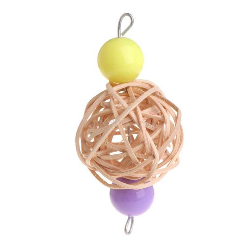 Попугай игрушки ротанга мяч Красочные Висячие клетки Птица Попугай играть Забавный укус жевать F22 19 Прямая поставка