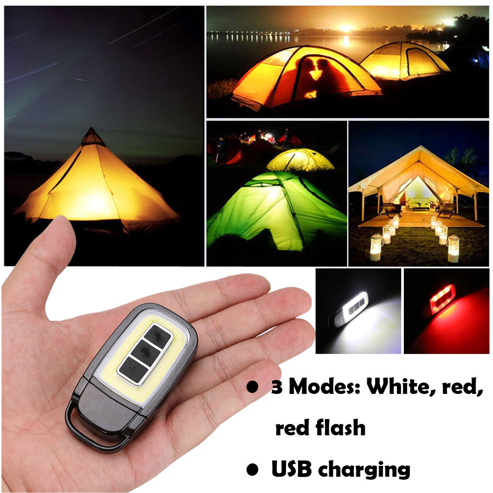 Mini Bright COB LED Torch Light Key Chain EDC Light Durable USB Rechargeable Flashlight 3 modes Outdoor Camping Practical Tools