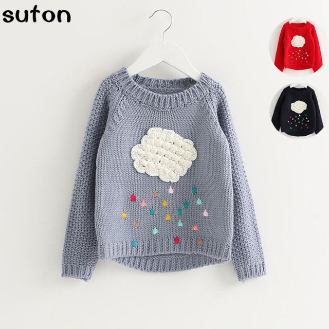 2017 New Spring and Autumn Children 's Clothing Clouds Sweater Jackets Girls Tops Neck Long Sleeve Sweaters Raindrops Sweaters