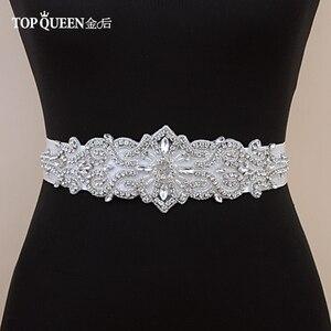 TOPQUEEN S26 كريستال و أحجار الراين فستان سهرة حزام اكسسوارات الزفاف أحزمة للعروس العروس زنار الزفاف الزنانير