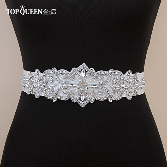 TOPQUEEN S26 Luxury Crystal and Rhinestones Gown Dresses belt Accessories Wedding Belts for bride Bride Waistband Bridal Sashes