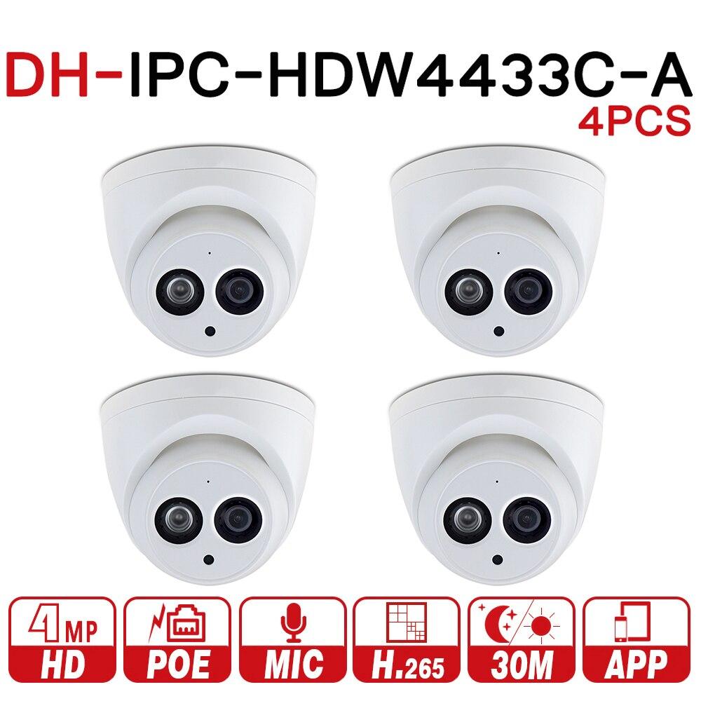 DH IPC-HDW4433C-A 4PCS POE câmera de Rede Mini Dome Câmera de CCTV Câmera Com Construído em Micro 4MP 4 pçs/lote Para Sistema de CCTV