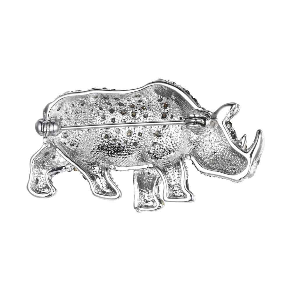 Tuliper Rinoceronte Animale Spilla Spille Austriaco di Cristallo Del Rhinestone Spille Per Le Donne Del Partito Dei Monili del Regalo