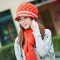 Winter hat female knitted hat scarf twinset knitted winter hat female new brand female knitting cap scarf keep warm twinset