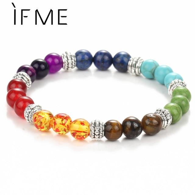 Se me moda 7 chakra pulseira masculino lava preta cura equilíbrio contas reiki buda oração pedra natural yoga pulseira mulher jóia