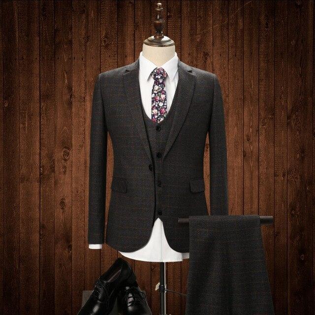 2017 Nuevos Hombres de 3 Unidades Tailor Made A Cuadros Traje de Negocios de Los Hombres Trajes de Boda Slim Fit Novio Esmoquin Para Hombres (jacket + Pants + vest)