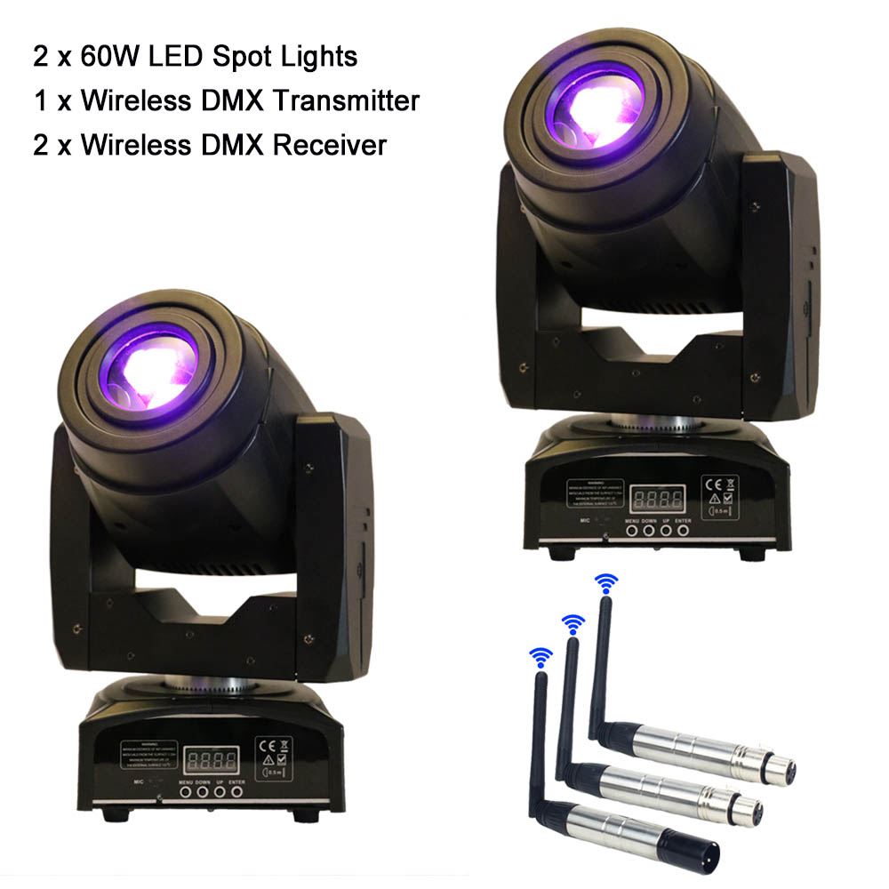 2PCS 60W LED DJ Spot Moving Head Light Mini DMX Gobo Lighting And Wireless DMX512 Transmitter Receiver For Professional Stage free shipping 2 4g wireless dmx signal controller dmx512 transmitter and dmx512 receiver for stage led par light led moving head