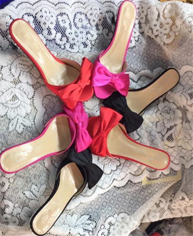 Multicolore Hauts Femme À De Talons Sexy Diamant Papillon red noeud rose Plage Pantoufles Black Soie Talon Peep Toe Été Mince Décor Vacances Chaussures n6WPcqwPv