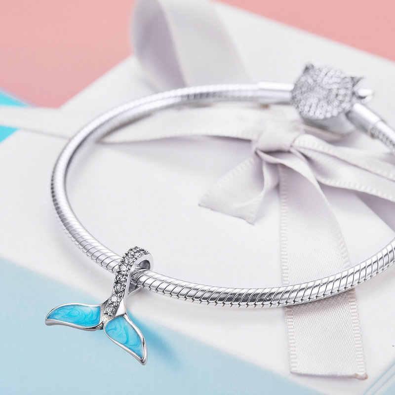 FURUYA Venda Hot 925 Sterling Silver Cauda da Sereia Azul do Esmalte Encantos Beads fit Pandora Original Pulseira DIY Encantos Jóias