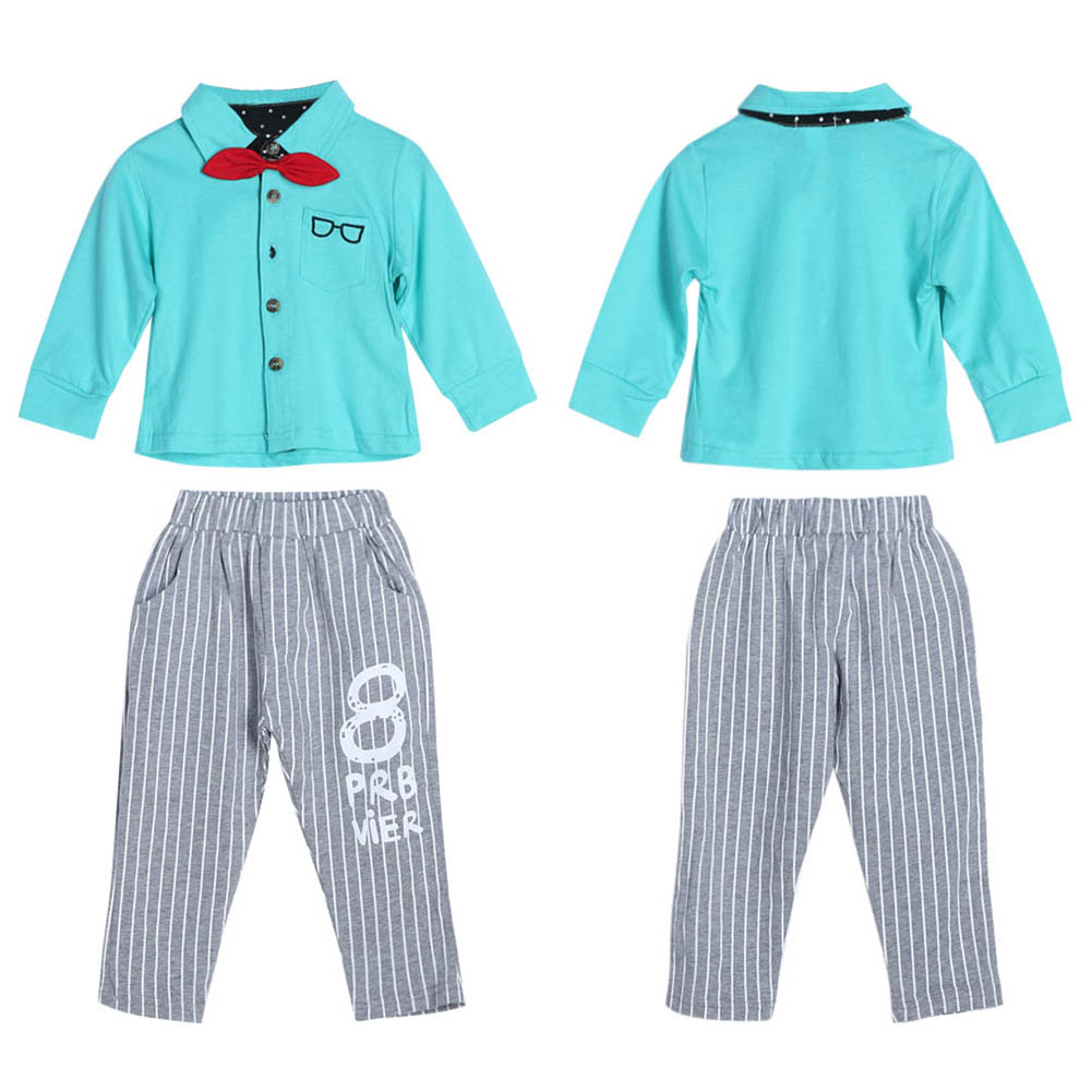New Arrival Fashion Baby Kids Toddlers Long Sleeve Bowknot Shirt Tops+Striped Pants 2pcs Spring Autumn Outfit Set For 1-4Y 2pcs children outfit clothes kids baby girl off shoulder cotton ruffled sleeve tops striped t shirt blue denim jeans sunsuit set