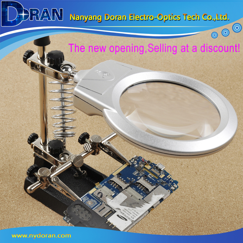 ФОТО Free Helping Hand Loupe Desktop Magnifying Glass LED Light Auxiliary Clip Magnifying Soldering Iron Jewelry Stand Lens MG16129-A