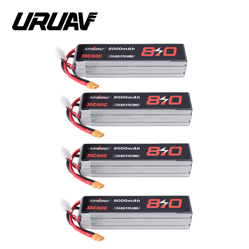 URUAV 14.8V <font><b>8000mAh</b></font> 30/60C <font><b>4S</b></font> XT60 Plug <font><b>Lipo</b></font> Battery for RC Quadcopter FPV Drone Quadcopter Spare Parts Accessories DIY image