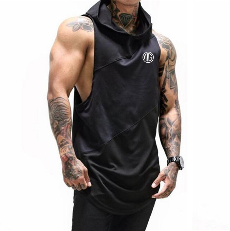 Bodybuilding Stringer Tank Top with hooded Mens Gyms Clothing Fitness Mens Sleeveless Vests Cotton Singlets Muscle