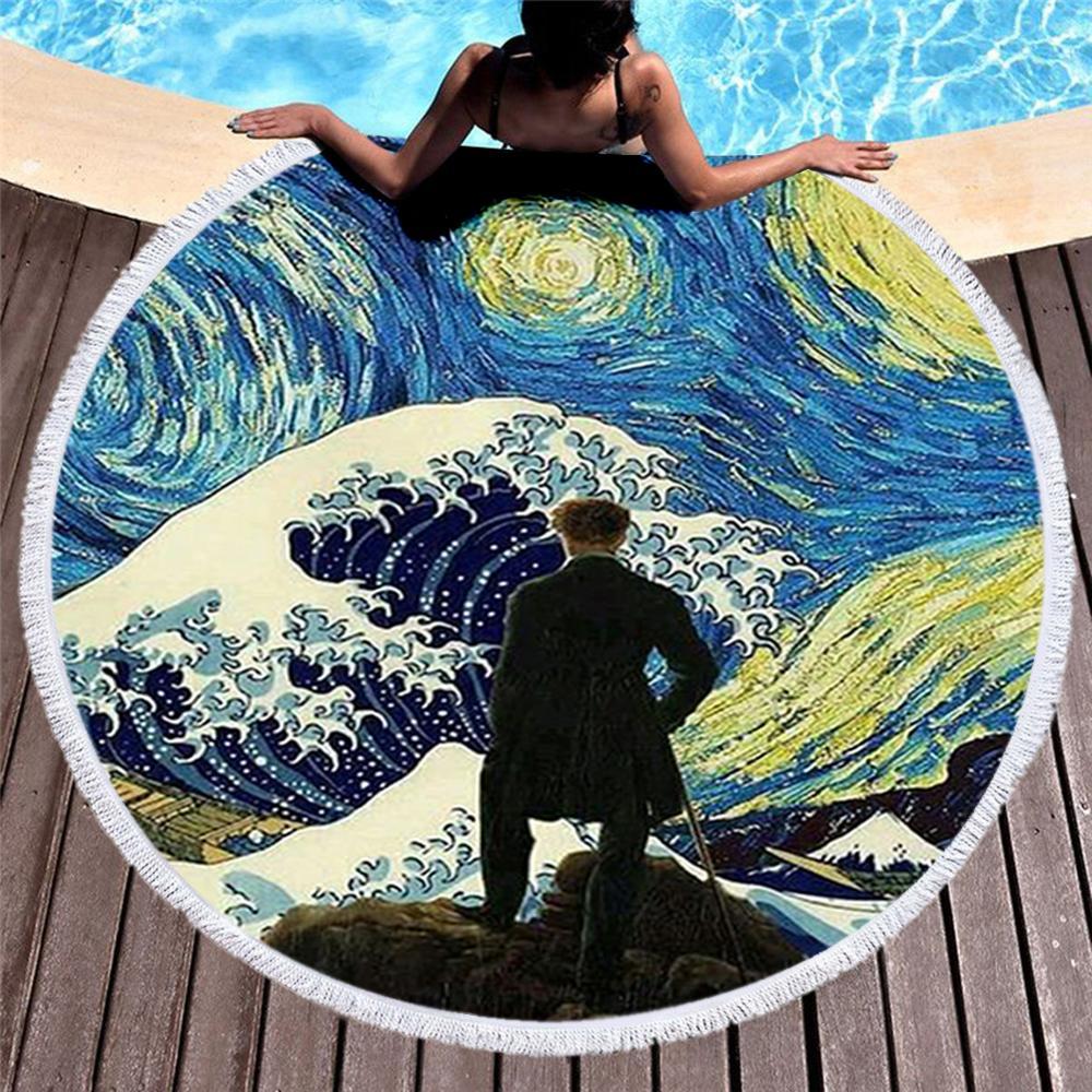 @1  Круглое пляжное полотенце с кисточкой Японские знаменитые картины Великая волна Полотенце для путеше ✔