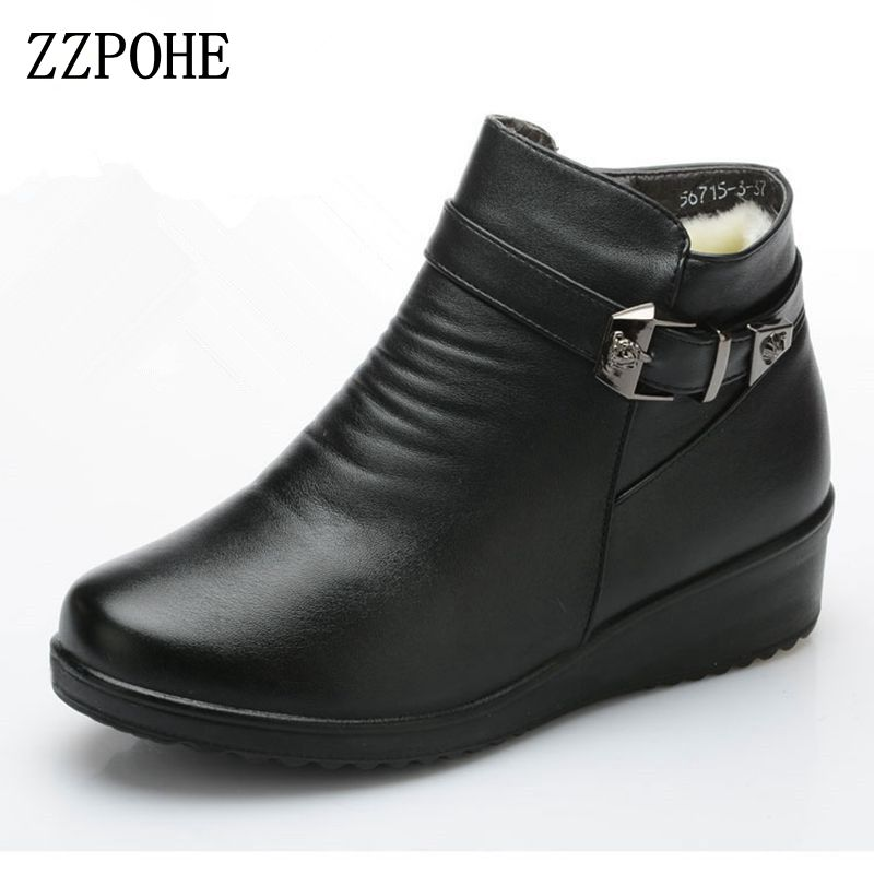 ZZPOHE Winter Fashion Women Shoes Women's Genuine Leather Flat Ankle Warm Snow Boots Mother boots Autumn Plus Size Cotton shoes roxdia genuine leather men ankle boots snow winter warm fashion work male waterproof for mens shoes plus size 39 48 rxm051