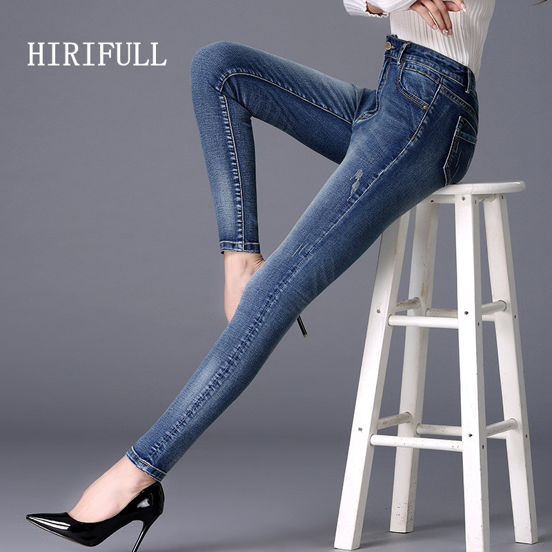 Women Jeans With High Waist Jeans Woman Elastic Plus Size 26-40 Sexy Ripped Slim Jeans Femme Washed Casual Skinny Pencil Pants women high waist jeans plus size dark women skinny ripped jeans femme jeggings sexy pantalones tejanos mujer boot cut jeans