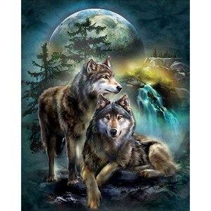 5D Diamond Painting Full Square Animal Diamond Embroidery Rhinestones Pictures Diamond Mosaic Moon Wolf(China)